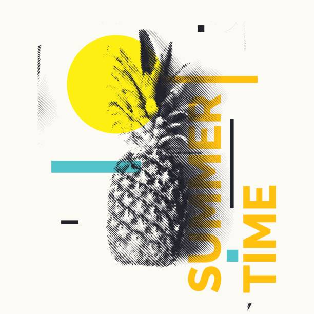 fashionable modern poster with pineapple, summer time. tropical fruit on white background - hipster fashion stock illustrations, clip art, cartoons, & icons