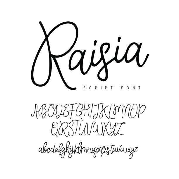 ilustraciones, imágenes clip art, dibujos animados e iconos de stock de fuente vectorial moderna moda - tipos de letra y tipografía