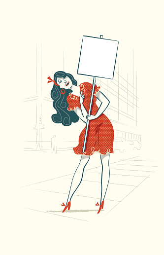 fashionable modern girl in the city with banner and space for text