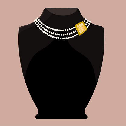 Fashionable necklace - pearl and gold. Exposed on a black mannequin