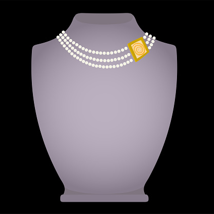 Fashionable necklace - pearl and gold. Exposed on a grey mannequin
