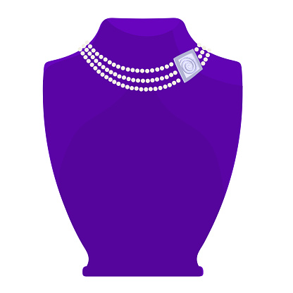 Fashionable necklace - pearl and silver. Exposed on a violet mannequin