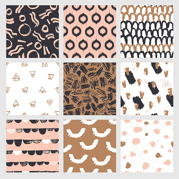 illustrazioni stock, clip art, cartoni animati e icone di tendenza di fashionable seamless pattern design collection - sfondo scarabocchi e fatti a mano