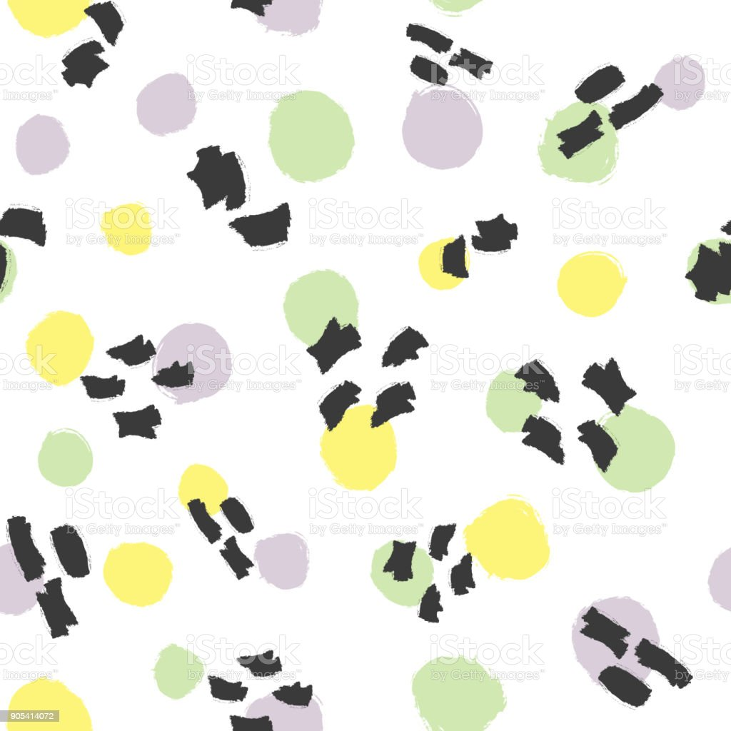 Fashionable seamless pattern with round spots and watercolor brush strokes. Grunge, sketch, graffiti. vector art illustration