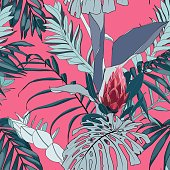 Fashionable seamless tropical pattern with tropical line leaves on a pink  background. Beautiful exotic plants. Trendy summer Hawaii print. Line stylish floral.