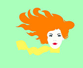Fashionable spring illustration vector modern art work my original horizontal drawing young joyful bright happy girl with long red hair flying in the wind and wearing a yellow bright scarf around her neck on a delicate bright green background of fresh spring green plants and herbs