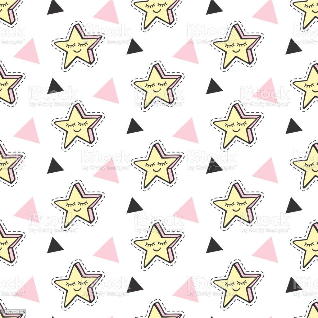 Ilustración de Estrellas De Moda Vector Niños Parches Sin Costura ...