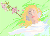 Fashionable vector illustration allegory of spring horizontal portrait of a blond girl with long hair in white clothes in headphones on a background of blossoming apple trees bright spring greens