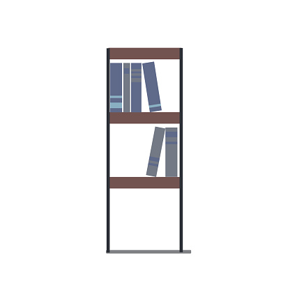 Fashionable vector illustration in a flat style: bookcase with books on a white background