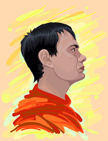 Fashionable vector illustration portrait of a profile of a modern handsome male in Impressionist style