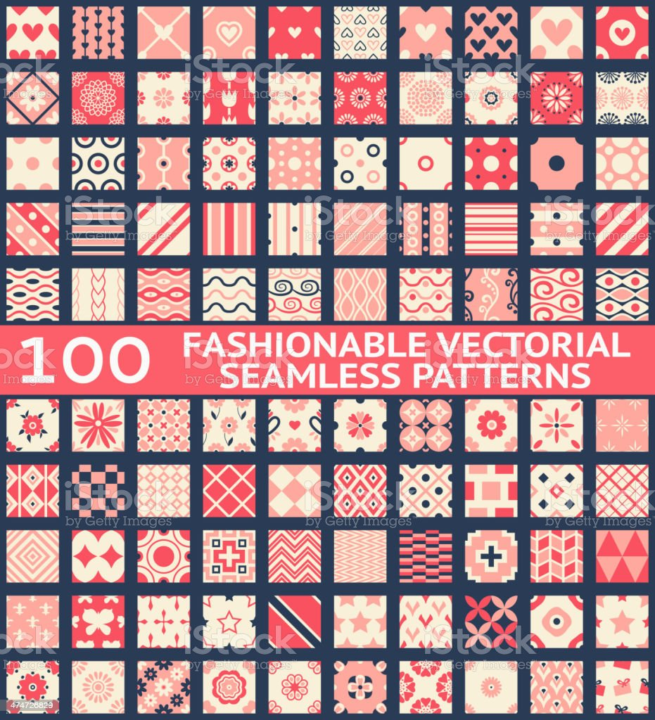 Fashionable vintage vector seamless patterns vector art illustration