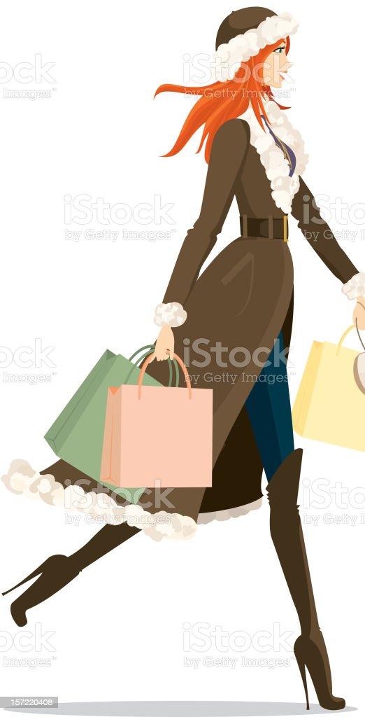 Fashionable Winter Female Shopper royalty-free stock vector art
