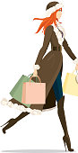 Stylish female shopper with hat, coat and boots.