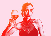 istock Fashionable woman holding glass of wine 1295178905