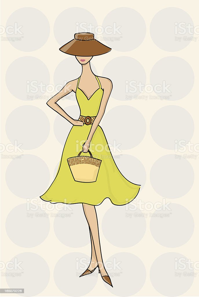 Fashionable Woman in Sun Dress vector art illustration
