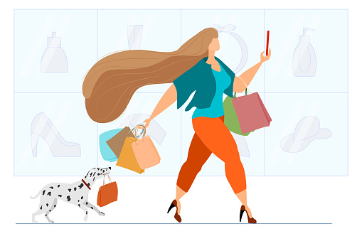 Fashionable woman shopping at the supermarket. Successful active girl with a Dalmatian dog carries shopping bags. Woman talking on a smartphone in a store. Vector in a flat style.