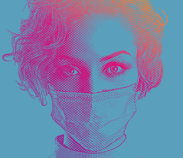 Fashionable woman wearing surgical mask vector art illustration
