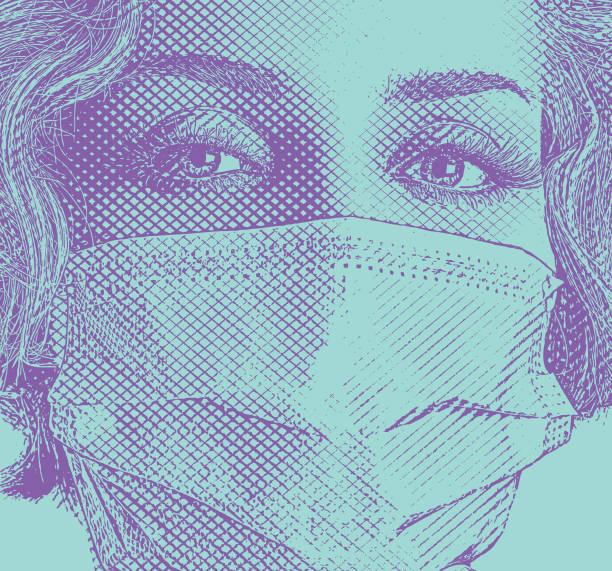 Bекторная иллюстрация Fashionable woman wearing surgical mask