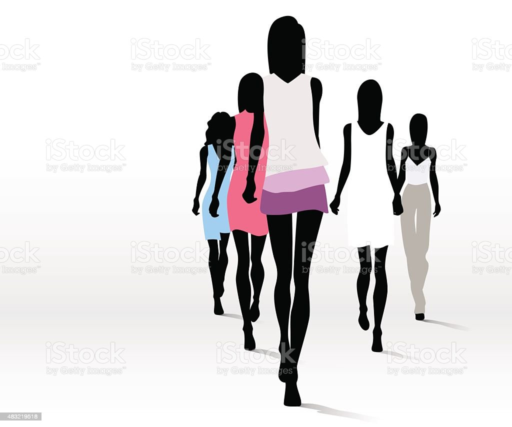 Fashionable women on runway vector art illustration