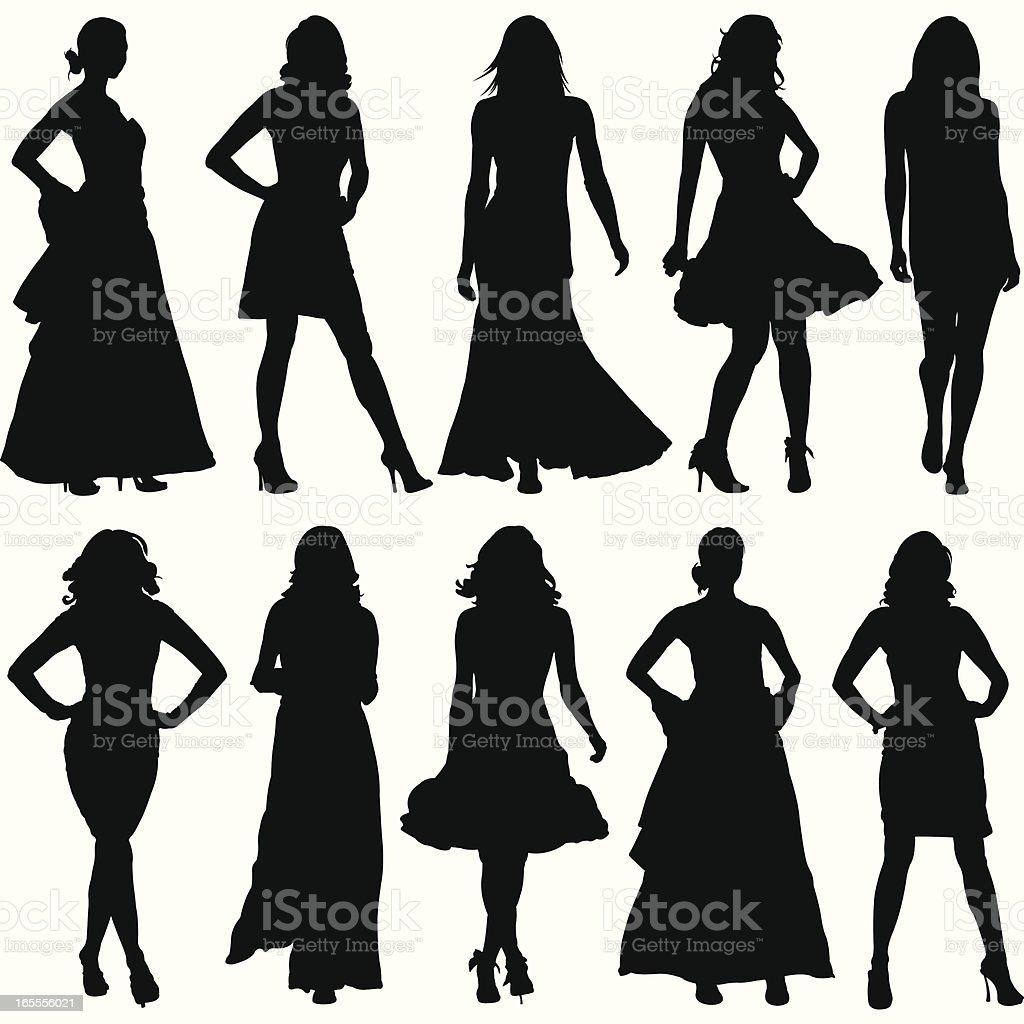 Fashionable Women Silhouette Set vector art illustration