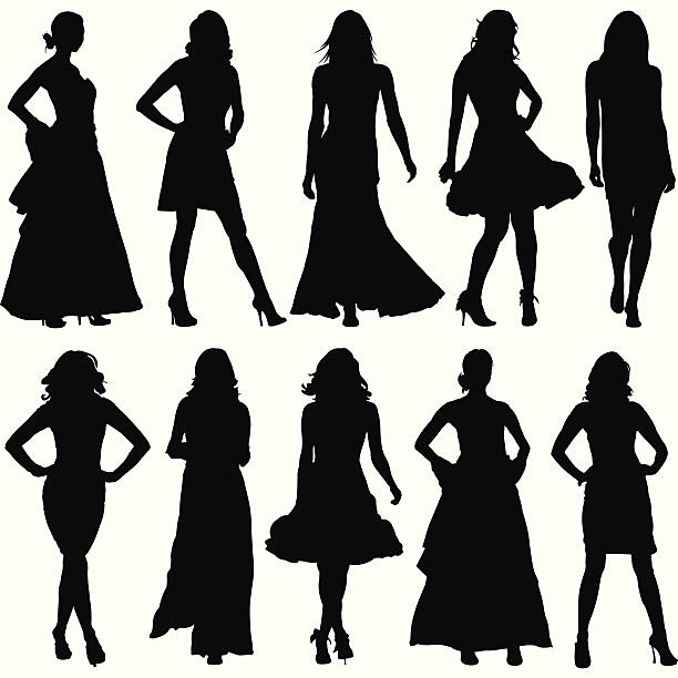 Fashionable Women Silhouette Set This fashionable women illustration is perfect for a variety of different design projects. This is a great set of women fashion silhouettes. This file has been layered and grouped for easy editing. This file includes a large JPG file, an ai V10 file, and an eps file. beautiful woman stock illustrations