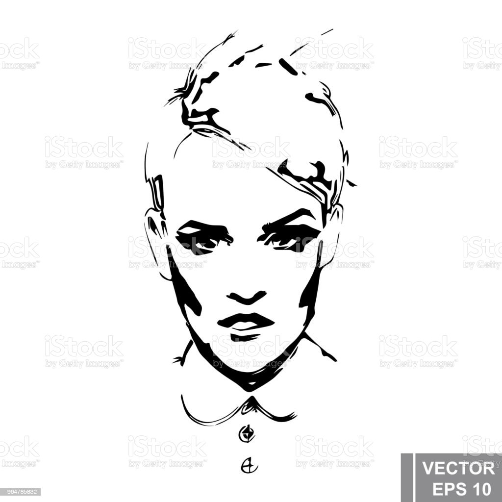 Fashionable young girl. sketch. line. Fashionable. For your design. royalty-free fashionable young girl sketch line fashionable for your design stock vector art & more images of art