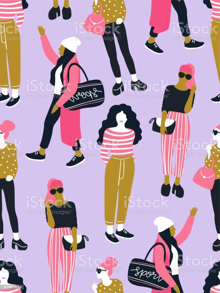b1f1ccd93323ec ピンクの水玉の背景にカジュアルなスタイルでファッショナブルな若い女性 ...