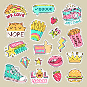 Fashioned girl badges, cute stripes and cartoon patches. Teenage fun doodle badge with hipster fashion sneakers, cute food and camera colorful yellow cyan pink icon vector isolated symbol stickers set