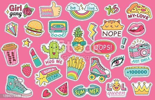 Fashioned girl badges, stickers with rainbow and burger, sneaker and glasses, lipstick and watermelon. Pins and patches isolated on pink background in comic style vector illustration