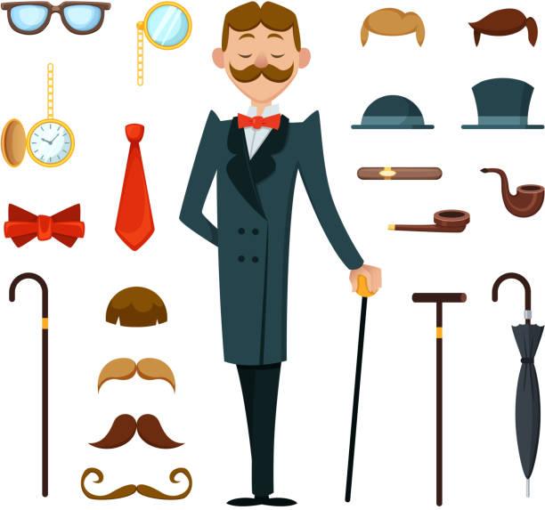 ilustrações, clipart, desenhos animados e ícones de moda retrô cavalheiro com diversos acessórios de estilo vitoriano. kit de mascote de criação - landscape creation kit