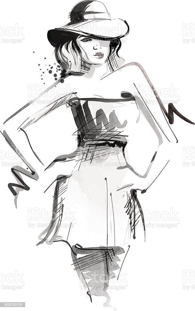 Fashioned Woman vector art illustration