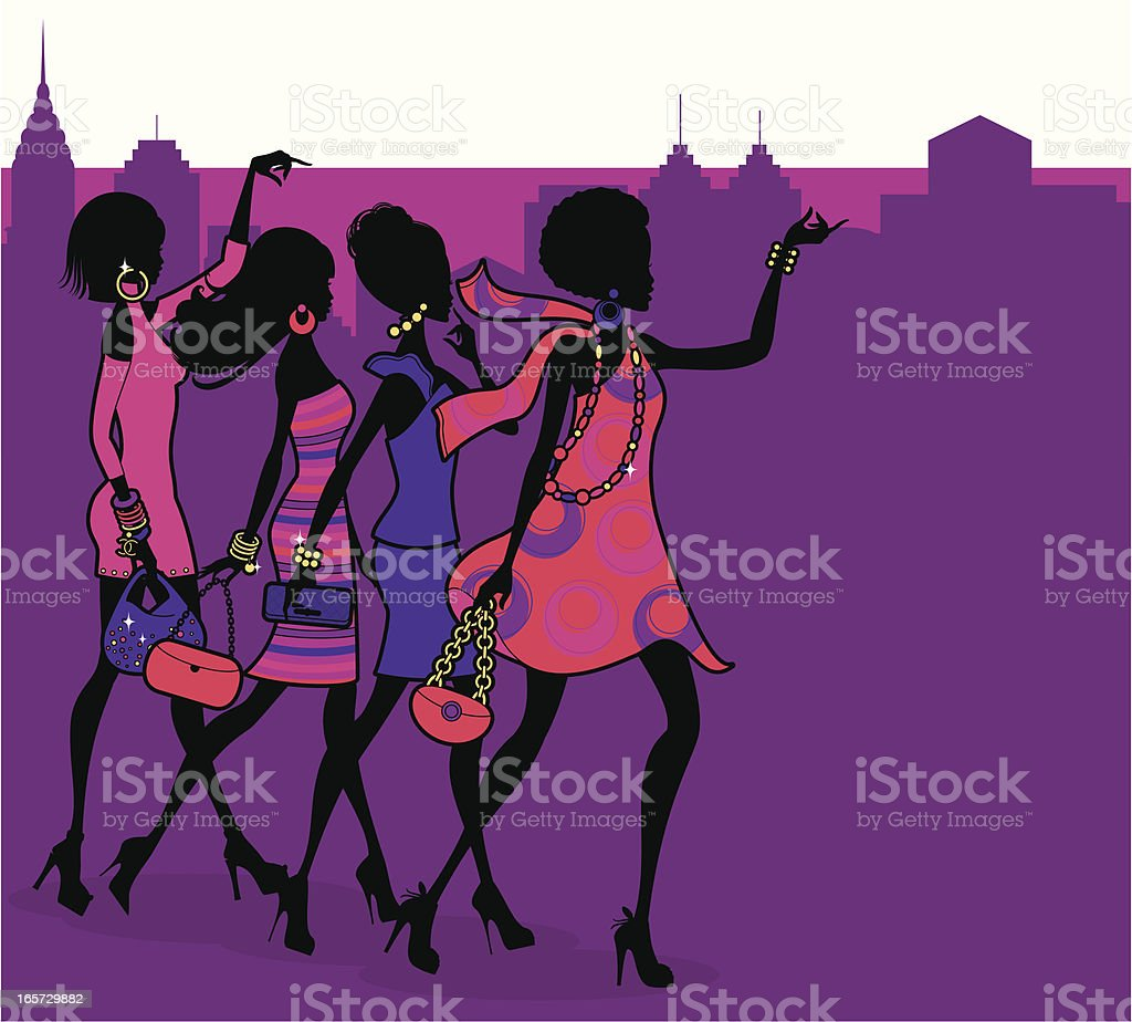 Fashionista Night Out vector art illustration