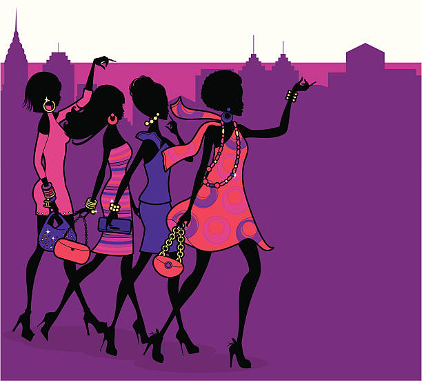 fashionista night out - bachelorette party stock illustrations, clip art, cartoons, & icons