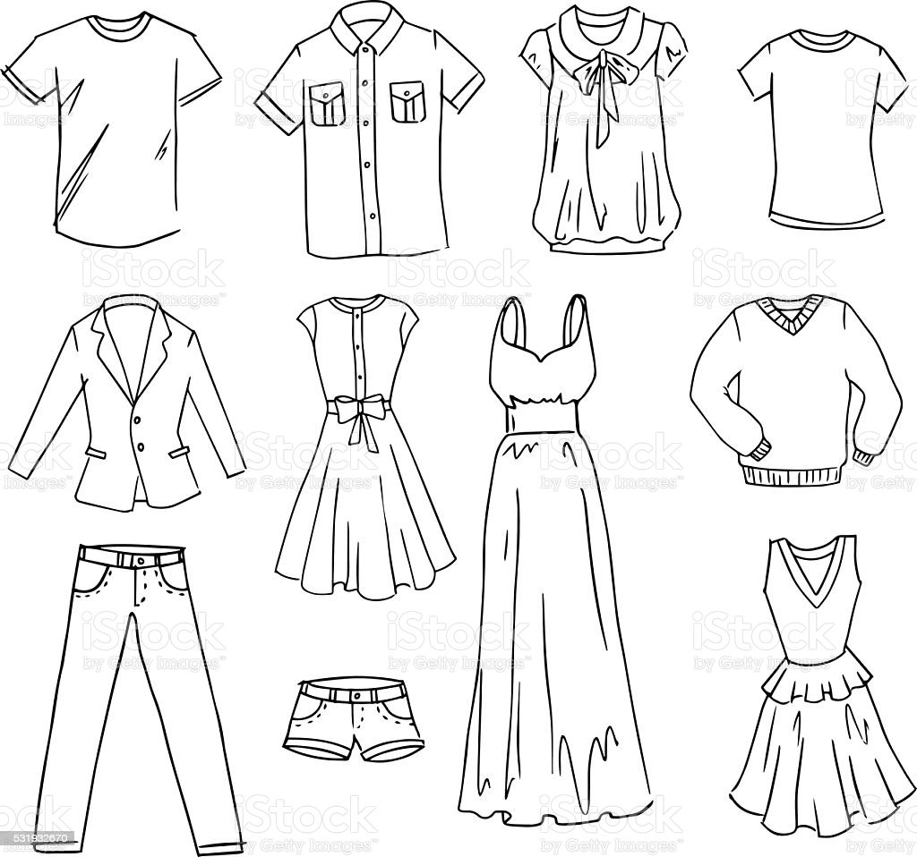 Fasihon Kleidung handgezeichnet Vektor-set – Vektorgrafik