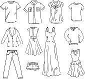 Fasihon clothes hand drawn vector set