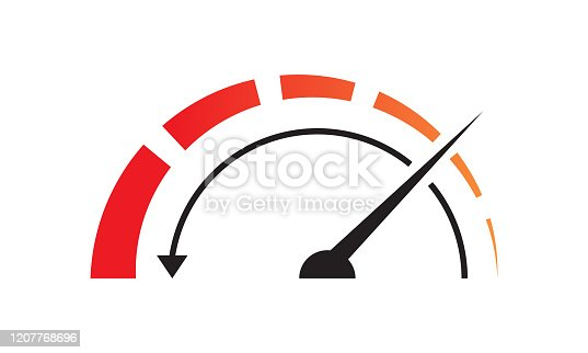 Fast acceleration odometer icon isolated on white background.