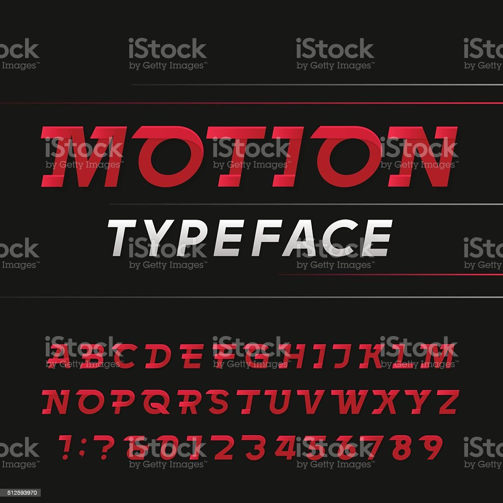 Fast alphabet vector font. vector art illustration