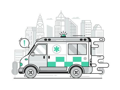 Fast Ambulance Car City Emergency Service Scene