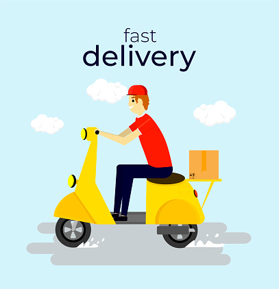 Fast and free delivery by scooter. E-commerce concept. Vector cartoon illustration. Food service. Webpage, app design. Pastel blue background.