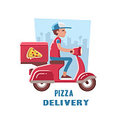 Fast and free delivery of pizza on the scooter. Vector illustration.