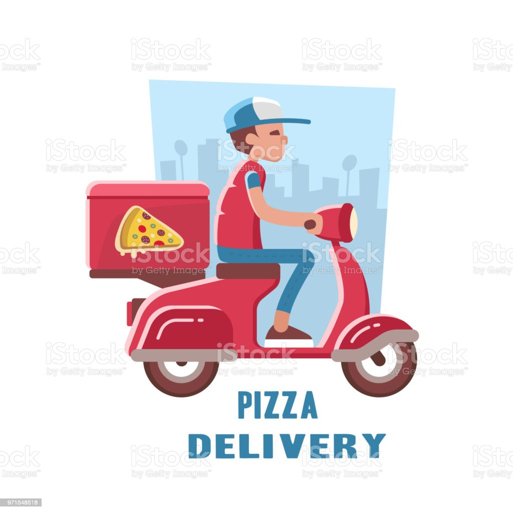 Fast and free delivery of pizza on the scooter. vector art illustration
