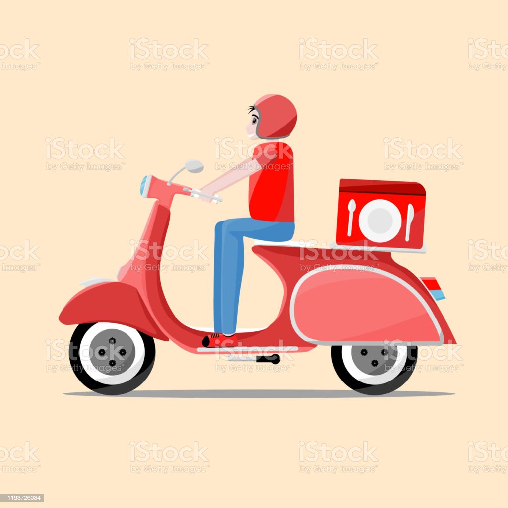fast and free delivery vector cartoon illustration food service retro scooter stock illustration download image now istock fast and free delivery vector cartoon illustration food service retro scooter stock illustration download image now istock