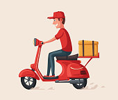 Fast and free delivery. Vector cartoon illustration. Vintage style. Food service. Red scooter. Retro bike. Funny character. Happy person. For banners and posters.