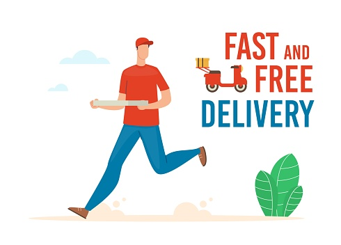 Fast and Free Pizza Delivery Flat Vector Banner