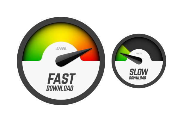 stockillustraties, clipart, cartoons en iconen met snelle en langzame download snelheidsmeter - langzaam