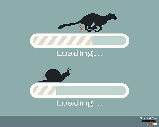 fast and slow progress loading bar - snail stock illustrations