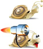 A slow bored snail and a fast scared snail with a jet engine strapped to it's back.