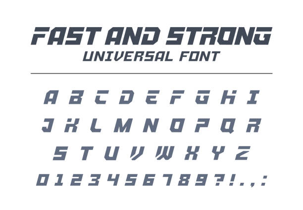 Fast and strong, high speed universal font. Sport, futuristic, technology, future alphabet. Fast, strong, high speed universal font. Sport, futuristic, technology, future alphabet. Letters, numbers for military industry, electric car racing logo design. Modern minimalistic vector typeface training equipment stock illustrations