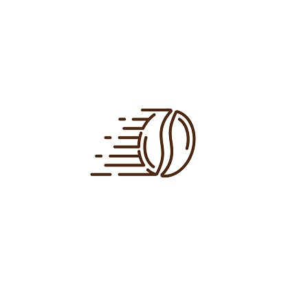 Fast coffee bean, fast delivery coffee. Vector icon template