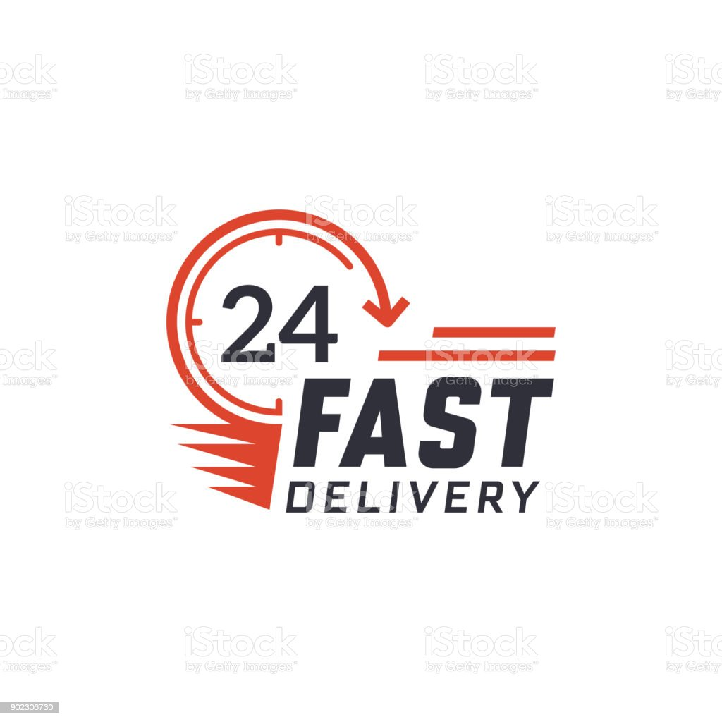 Fast delivery 24 hour vector art illustration